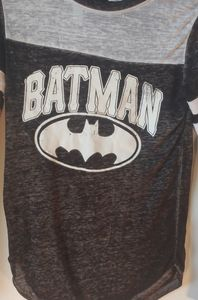 Junior XS Black and White Distressed Batman Top